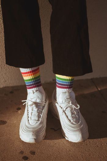 Rainbows Photography Photooftheday Photo Vintage Faded Streetwear Fashion Clothes Clothing Socks Low Section Shoe Real People Human Leg Sock Standing Day Indoors  Human Body Part One Person Close-up