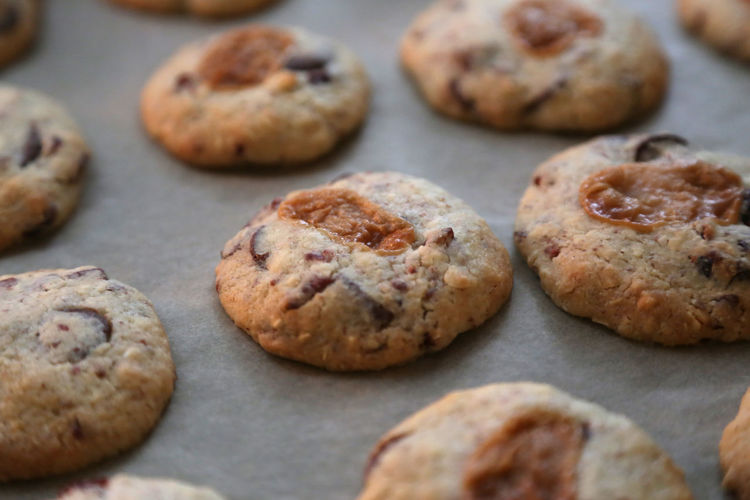 High angle view of cookies on baking sheet