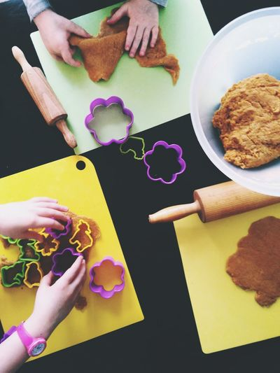 Baking With The Kids Kids Baking Children Only Dough kitchen utensils Easter Easter Baking Sweet Food Cookies Flat Lay Directly Above Human Hand Homemade High Angle View Preparation  Table Close-up Food And Drink