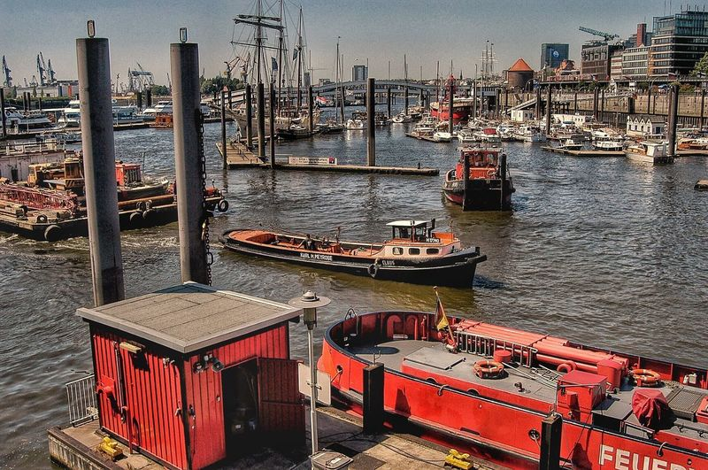 Hamburg Water Nautical Vessel Transportation Mode Of Transportation Harbor Sea Nature Moored Day No People High Angle View Outdoors Architecture Sky Sunlight Pier Built Structure Building Exterior Fishing Industry Sailboat