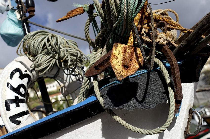 Rusty Iron Anchor Number Lifebelt Rope Fishing Boat Detail Photography Bildfolge Landscape_Collection Landscape_photography Vacation Time Nautical Vessel No People Day Outdoors Close-up Sky Transportation Mode Of Transport Sunlight Low Angle View Moored