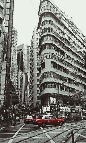 Mobile Photography Hongkongstreet Black And White Urban Lifestyle Oldbuildings Eeyem2016snapped My Commute Red Carspotting