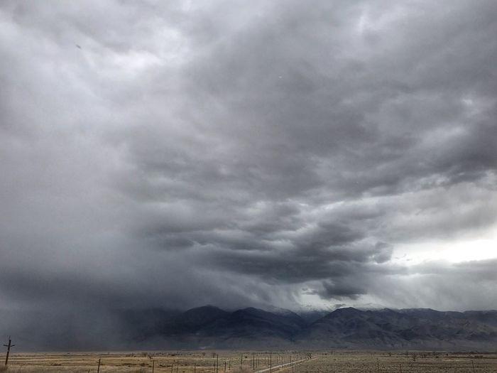 Storm clouds over landscape