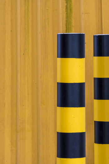 pole Close-up Corrugated Iron Day Factory Hamburg Industry Metall Material No People Outdoor Pole Stake Wall Yellow
