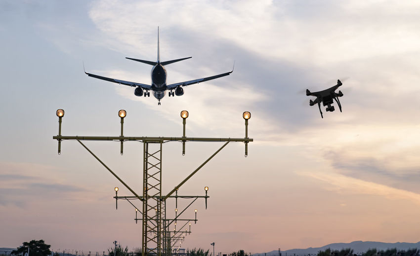 Drone flying at the airport near an aircraft leading to a possible accident.