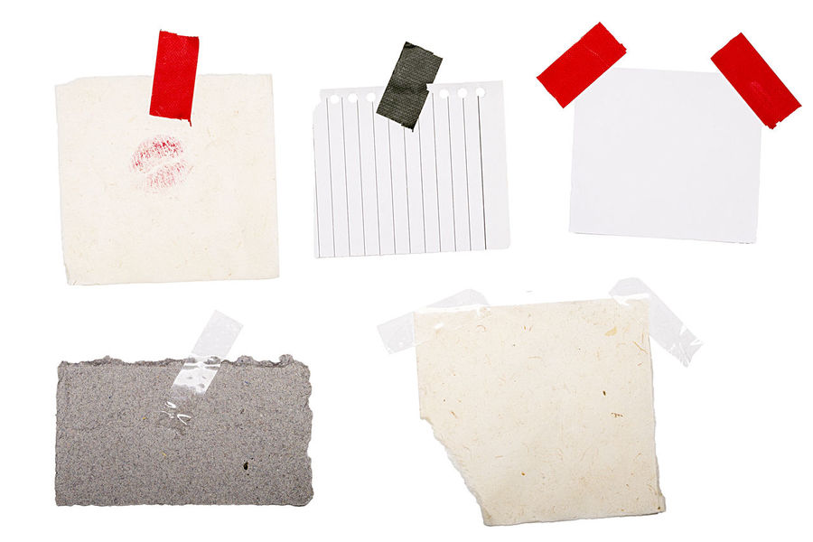 Blank Cardboard Closeup Collection Copy Space Crumpled Empty Isolated Lable Many Old Paper Pinned Rippled Set Tape Template White Write