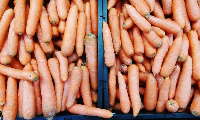 Full frame shot of carrots at market stall