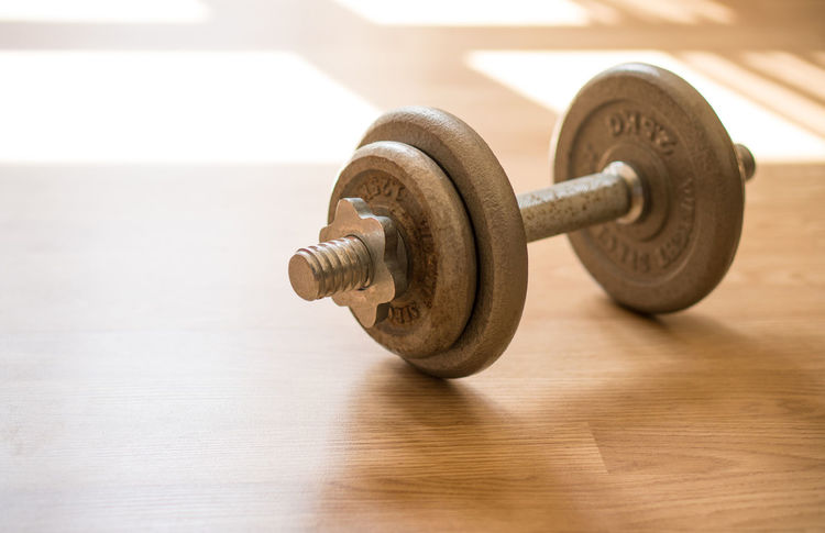 Dumbbell weight on wooden floor Gym Copy Space Exercise Light Morning Objects Pound Activity Backgrounds Day Dumbbell Dumbbells Fit Fitness Gym Healthy Lifestyles Muscle Nobody Sport Steel Training Weight Window Wooden Workout