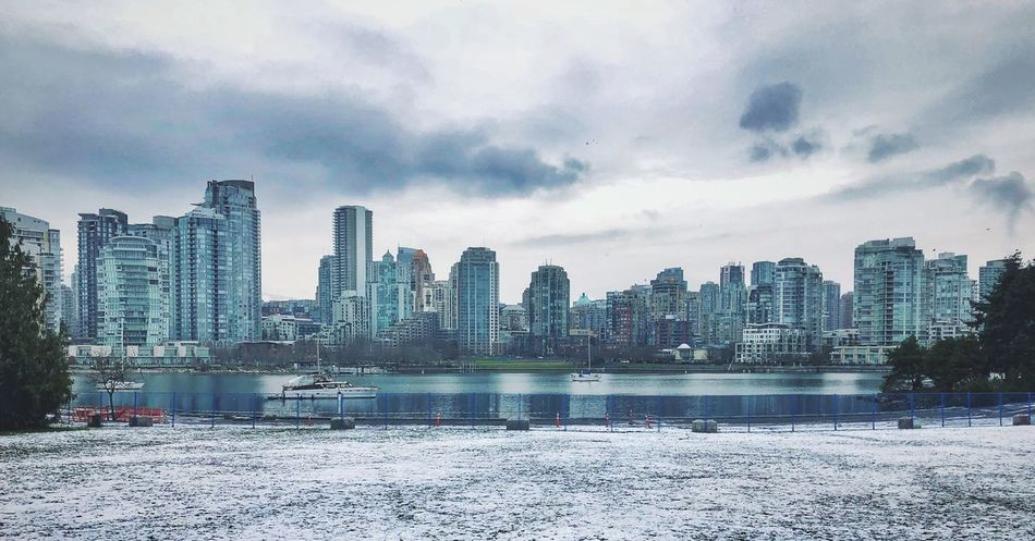 Merry Christmas! Vancouver Skyline Canada Vancouver Yaletown Snowscape False Creek, Vancouver, BC Seawall Christmas Day Skyscraper Building Exterior Built Structure Sky City Cityscape Waterfront Water No People Outdoors Day Urban Skyline Cloud - Sky Winter Cold Temperature Nature Scenics