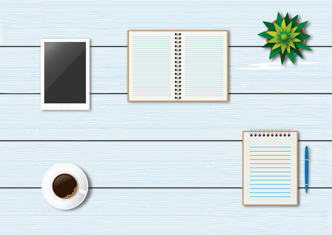 Office accessories illustration Accessories Coffee - Drink Coffee Cup Desk Directly Above Flat Lay Flatlay Illustration Note Pad NotePad Office Pen Spiral Notebook Startup Studying Table Tablet Technology Top View Vector Work