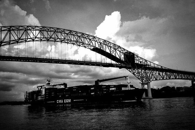 Water Reflections Skyporn Sky Bridge Panamá Canal De Panama  Blackandwhite