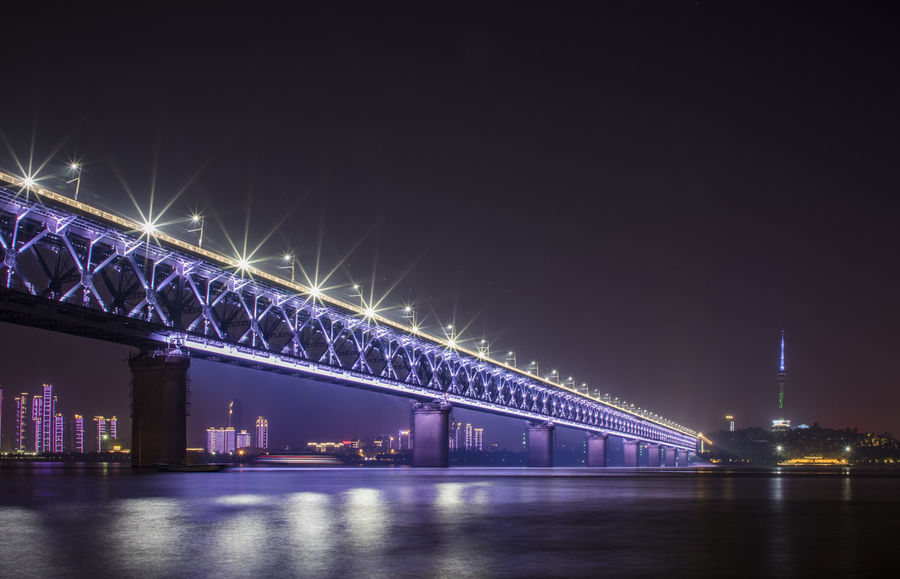 Wu Han YangZe RIver Architecture Bridge - Man Made Structure Built Structure City Connection Illuminated Night No People Outdoors River Sky Transportation Water Waterfront