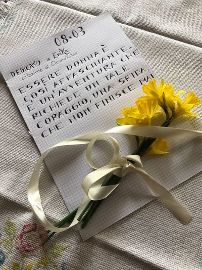 Happy international woman's day Text Handwriting  Tablecloth Table Open Flower Indoors  Book Note Pad Napkin No People Reminder Close-up Freshness Day