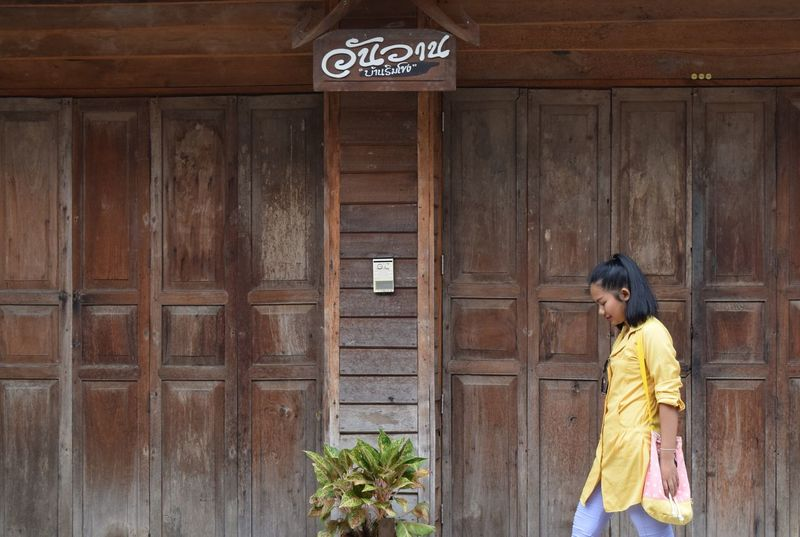 Old house at Chiang Khan Adults Only Architecture Beautiful Woman Building Exterior One Person One Woman Only Outdoors Real People Standing Women Wood - Material
