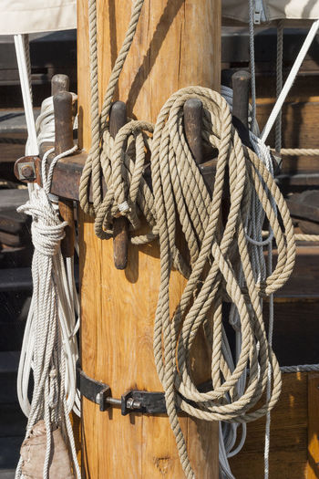 Rigging rope on a ship mast