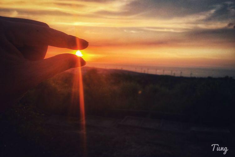 Sunset Sunset Sky Orange Color Sun One Person Sunbeam Real People