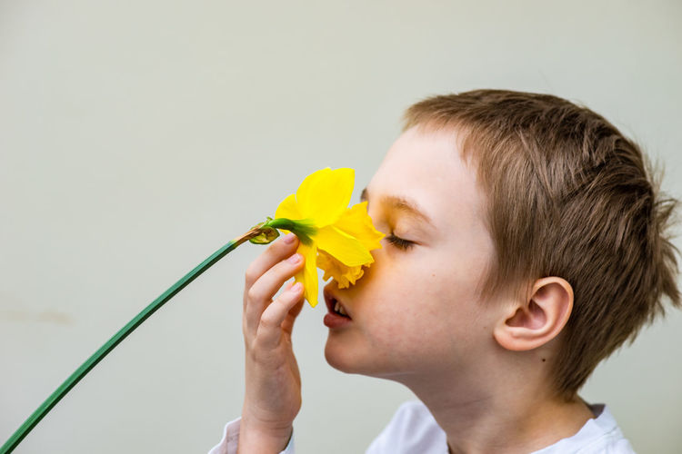 Boy smelling yellow flower against white background