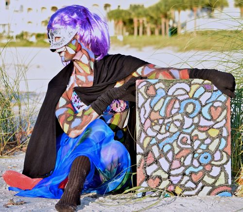 Live art on the beach in Sand Kay, Florida #florida #sandkey Blue Colorsplash Day Express Color Expression By Body Florida Gulf Of Mexico Live Art Outdoors Sand Key Beach The Mix Up - does art imitates reality or does reality imitates art?