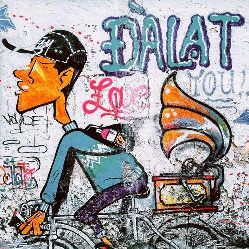 Multi Colored Outdoors No People Poster Dalat Bicycle Graffiti Cartoon Wallpaper Wall Wall Art