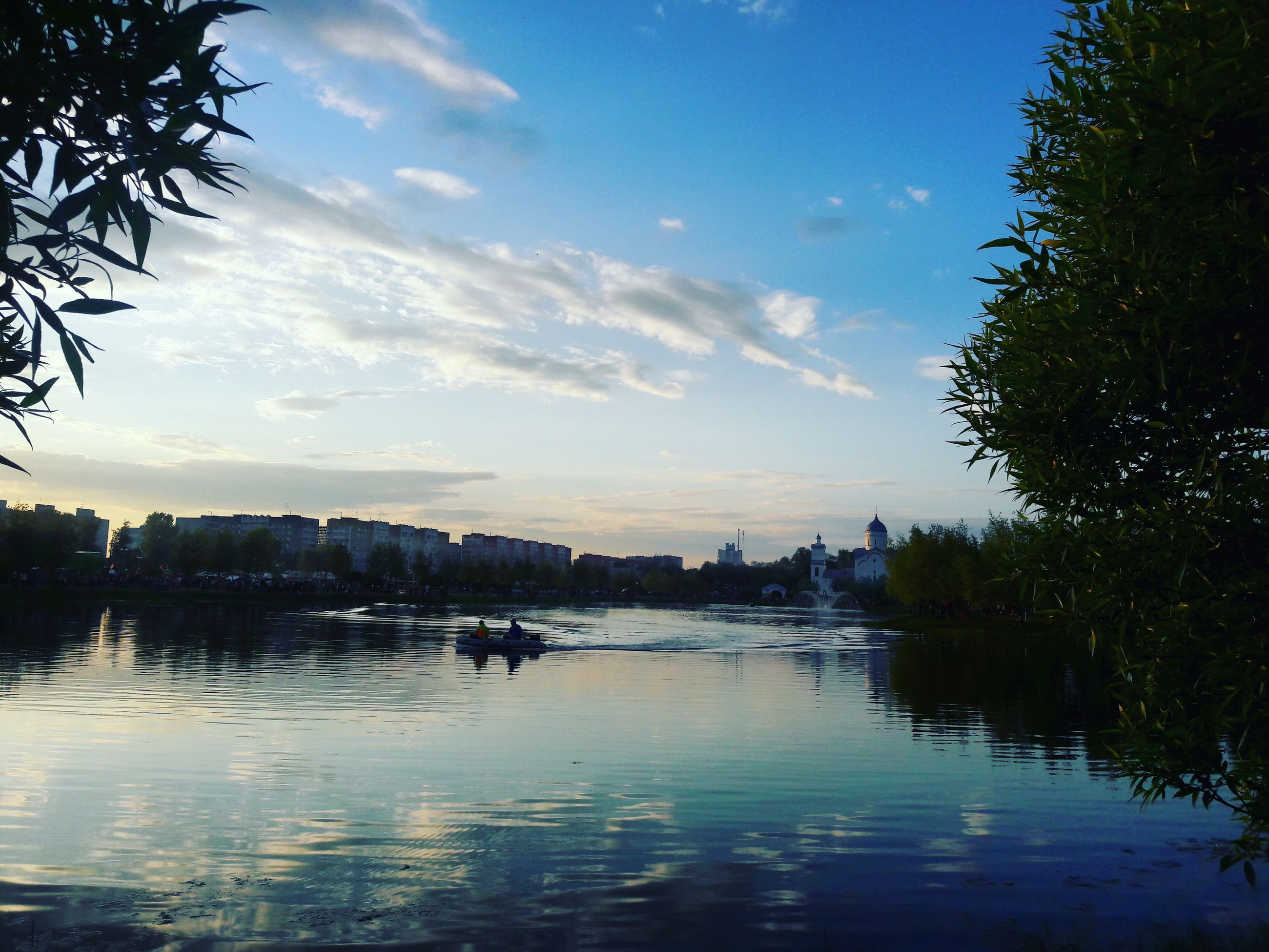water, sky, tree, lake, reflection, waterfront, cloud - sky, tranquility, tranquil scene, cloud, scenics, river, silhouette, sunset, nature, beauty in nature, outdoors, blue, idyllic, sunlight