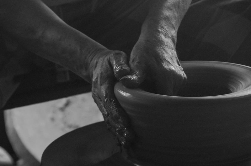 Clay Pot Maker Eyeem Philippines Man At Work Pot Making Blackandwhite Photography Claypot Close-up Day Expertise Holding Human Body Part Human Hand Indoors  Men Motion Occupation One Person People Pot Maker Real People Skill  Working Working Hand
