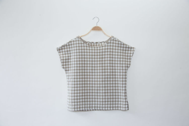 Brown Striped shirt women isolated on white background Beautiful Beige Casual Colors Dress Beauty Blank Blouse Blouses Brown Button Down Shirt Cloth Clothes Clothes Hanging Clothing Coathanger Cotton Design Fashion Garment Hanging Linen Minimal Pattern Textile