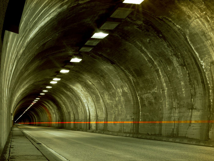 Empty road in tunnel