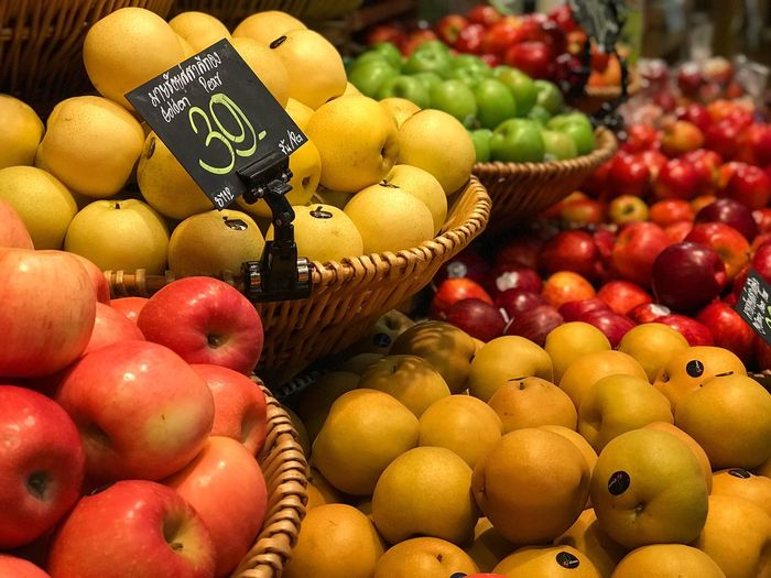 Fruit Freshness Market Healthy Eating Abundance Apple - Fruit Food And Drink Pear Variation Basket Market Stall Large Group Of Objects Price Tag Food Yellow Peach For Sale Retail  Choice Vegetable
