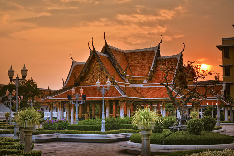 tropical swimming pool at night and Buddhist Temple in thailand Architecture Built Structure Building Exterior Building Sunset Plant Sky Tree Religion Place Of Worship Belief Nature Orange Color Spirituality Cloud - Sky No People Roof City Outdoors