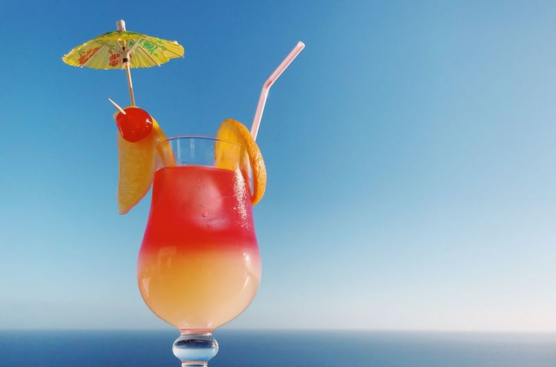 Tropical cocktail Blue Sky Cocktails Cocktail Cocktail Drink Food And Drink Refreshment Drinking Glass Alcohol Freshness Drinking Straw Summer Fruit No People Tropical Climate Tropical Drink Vacations Blue Beach Close-up