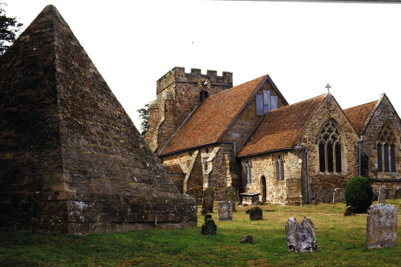 'Mad Jack' Fullers tomb, in the shape of a pyramid, in the gravesyard of Brightlingstone Church, East Sussex, UK Architecture Sky Day History Outdoors Religion Clear Sky Church Graveyard No People Place Of Worship East Sussex Building Exterior Built Structure Brightlingstone Pyramid Tomb