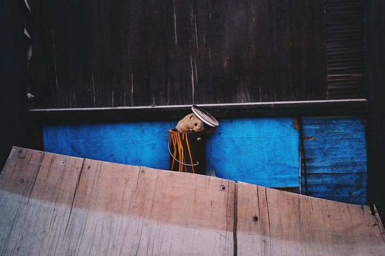 Man on rope against blue wall