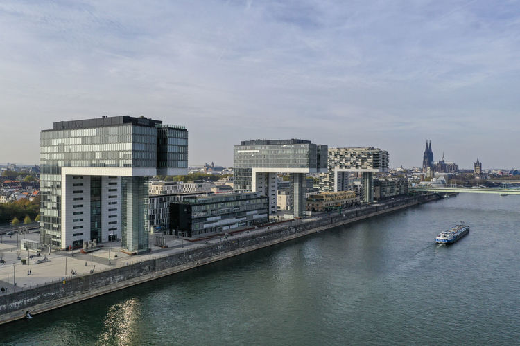 impressions from Rheinauhafen, Cologne Drone Photography Aerial View Skyline Modern Architecture River Daylight Sky And Clouds Ships Bridges