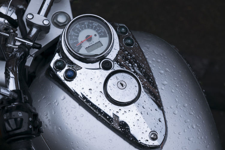 Motorcycle in rain Art Close-up Day Droplet Indoors  Land Vehicle Mode Of Transport Motorcycle No People Rain Speedmeter Speedometer Transportation Vehicle Part Water