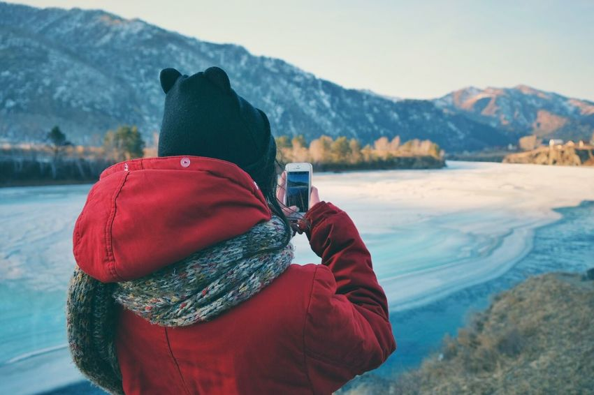 Mobile photo Nature Photography Mobile Photography River View Winter Cold Temperature Warm Clothing Clothing One Person Hat Lifestyles Mountain Range Beauty In Nature First Eyeem Photo