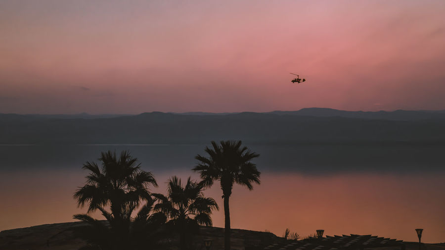 View of the dead sea after sunset from the east side in the jordan country