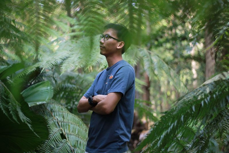 Man with arms crossed looking away while standing amidst forest