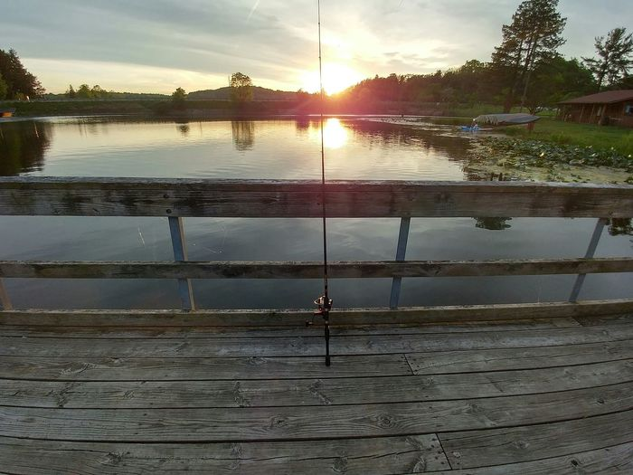 Sunset fishing Sunset Outdoors Nature Water Lake Fishing Rod Fishing Pier Fishing Ohio