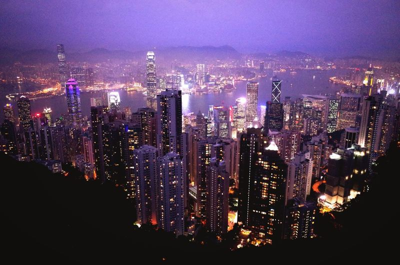 The lights of the city flicker on over Hong Kong. HongKong Traveling Cityscapes City Lights Open Edit