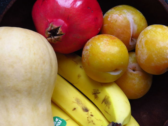 Banana Butternut Squash Nectarine StillLife Close-up Food Food And Drink For Sale Freshness Fruit Fruitporn Fruits Healthy Eating High Angle View Mirabelle Organic Plum Pomegranate Pumpkin Raw Food Ripe Still Life Vegetable Wellbeing Yellow Plums