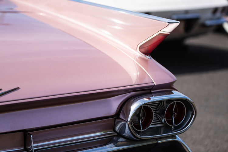 Lohmar, Germany - August 12, 2018: Visitors and historic US cars populate a huge parking lot - for editorial use only Car Motor Vehicle Mode Of Transportation Land Vehicle Transportation Retro Styled Day Vintage Car Reflection No People Close-up Outdoors Travel Focus On Foreground Glass - Material Luxury Stationary Headlight Wealth Chrome
