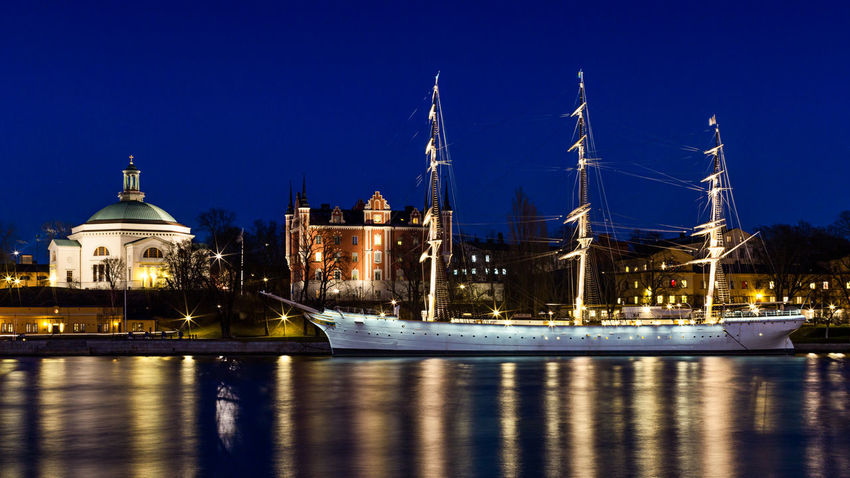 Stockholm City at Night. The famous youth hostel, Af Chapman with its reflection. Europe Night Night Lights Night Photography Nightphotography Nightscape Reflection Sea Ship Stockholm Stockholm, Sweden Sweden Youth Hostel Cities At Night