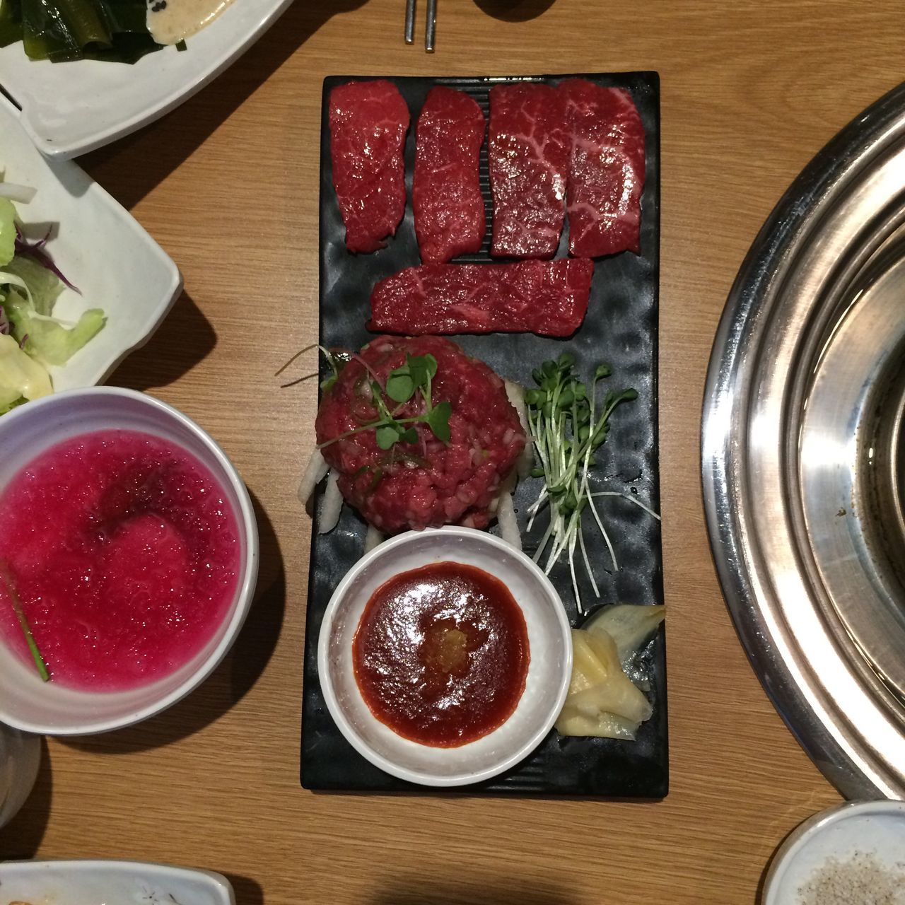 food and drink, food, directly above, plate, table, freshness, bowl, red, indoors, high angle view, no people, healthy eating, ready-to-eat, close-up, dip, day
