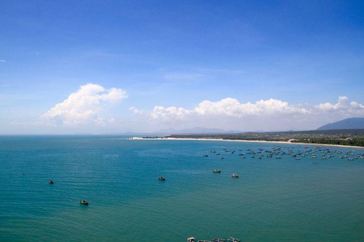 Phan Thiet Postcard Vietnam Beauty In Nature Blue Boats Fishing Boat Horizon Over Water Ke Ga Landscape Mountain Nature Nautical Vessel No People Scenics Sea Seascape Shore Tranquil Scene Water