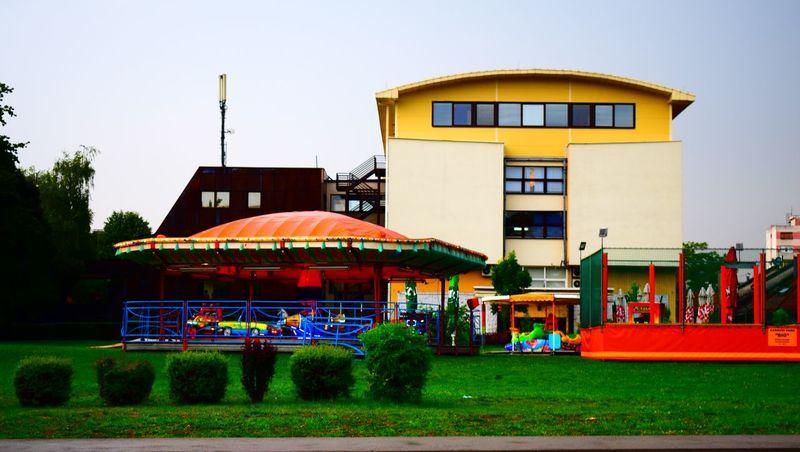 Day Exterior Façade Multi Colored Outdoors Playground Playground Structure Yellow Bosnia And Herzegovina Banja Luka