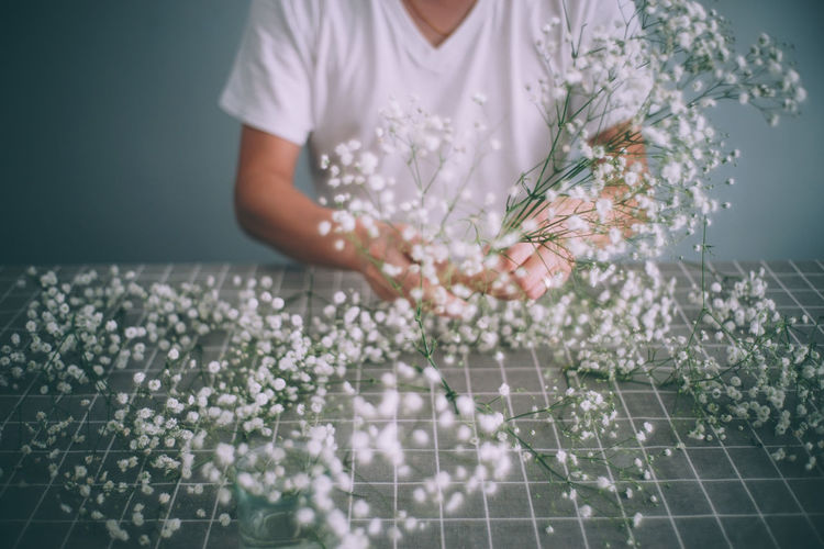 Flower Arrangement Babybreath Beauty In Nature Close-up Day Florist Flower Flower Head Freshness Holding Human Body Part Human Hand Indoors  Lifestyles Nature One Person People Real People