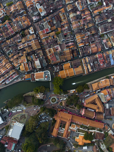 Aerial view of Melaka (Malacca) historic colonial town around Malacca river in Malaysia. DJI Mavic Air Mavic Air Mavicair Melaka River View World Heritage Aerial View Architecture Boat Building Exterior Built Structure City Cityscape Cruise Malacca Malaysia Outdoors River Top Perspective Unesco