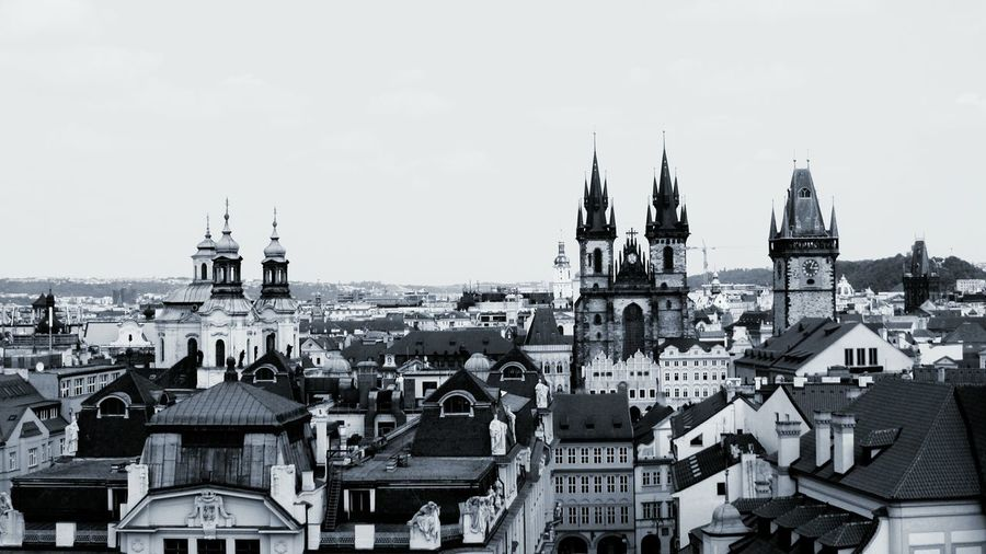 Prague Praguepanorama Panoramic Towers Architecture Sky Travel Destinations Black And White Architecture Monochrome Photography