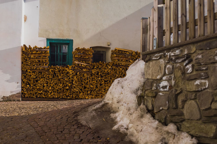 View of stone wall by street
