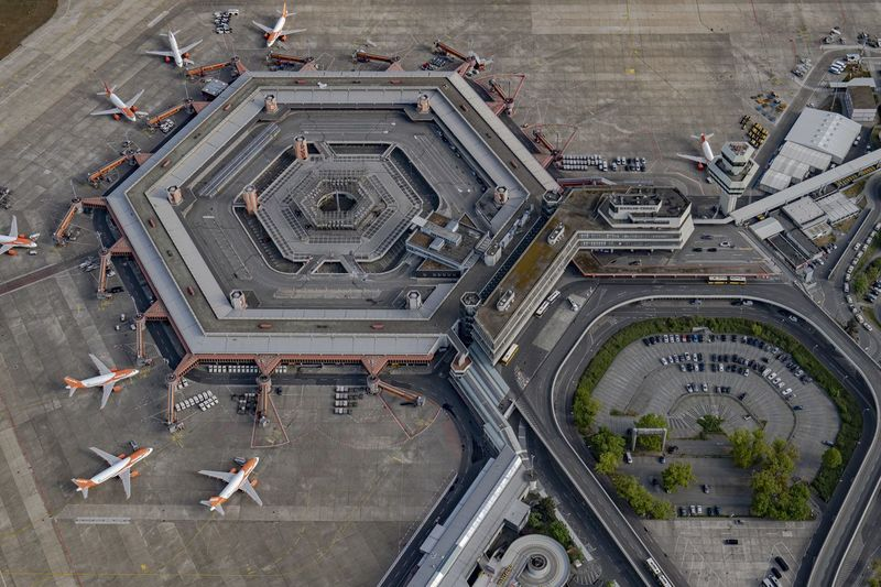 High angle view of airport on street in city